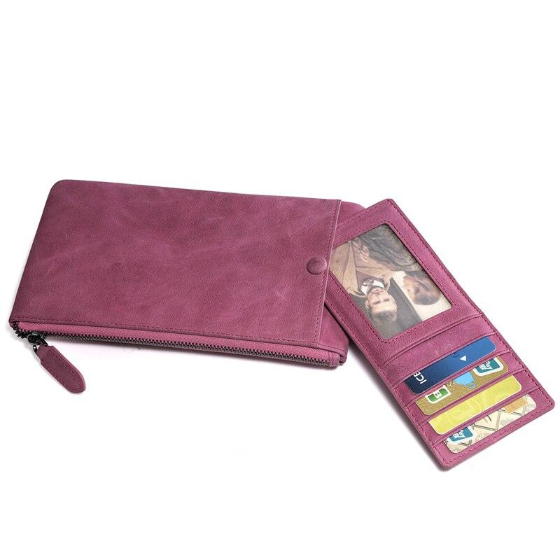 Brown Real Genuine Leather Slim Checkbook Cover Organizer Wallet Men Women