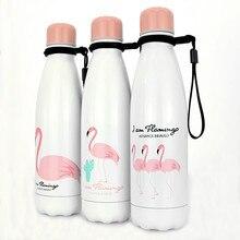 Flamingos Travel 500ML Water Bottle Stainless Steel Vacuum Insulation Water Flask BPA Free Healthy Bottles flamingos