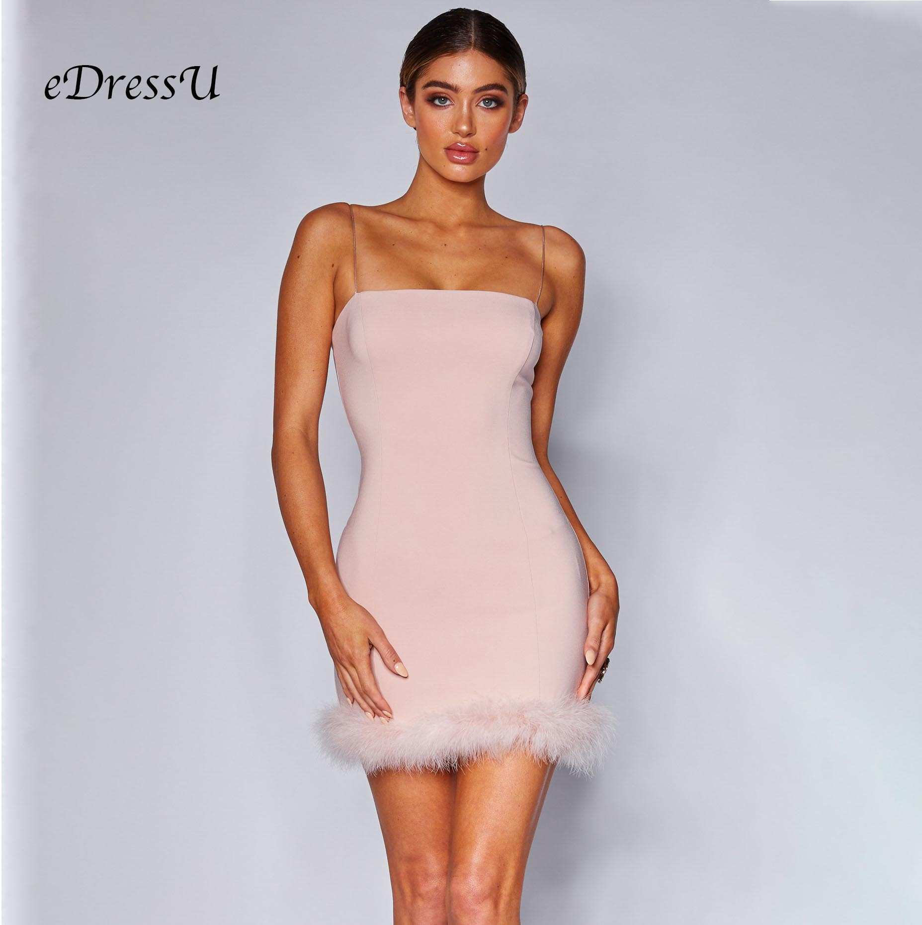 Women New Feature Pink Dress Spaghetti Straps Sexy Club Nightclub Cocktail Party Dress Above Knee Length Dress eDressU MS DZT963