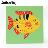 JaheerToy Baby Wooden Toys For Children Montessori Hand Grasping Board Educational Toy Animals Jigsaw 3D Puzzle