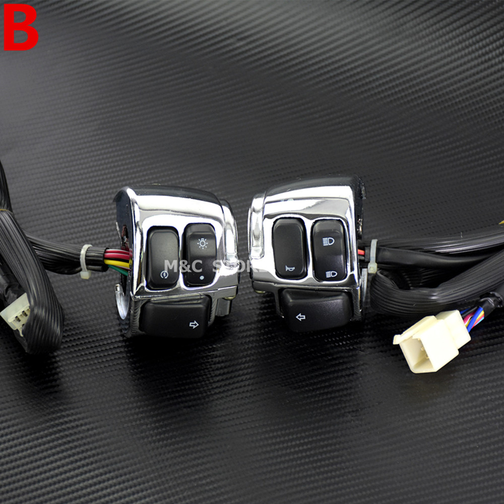 Pair Motorcycle 1 Handlebar Control Switches Chrome Auto ... on
