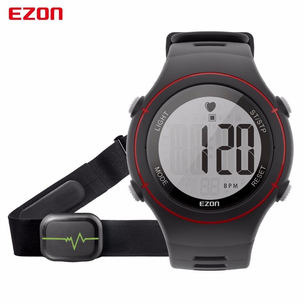 EZON Men Women Watch Waterproof Heart Rate Monitor Outdoor Running Sport Alarm Chronograph Digital Watch Clock with Chest Strap все цены