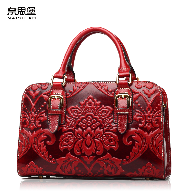 NAISIBAO women luxury handbag genuine leather women messenger bags fashion tote shoulder