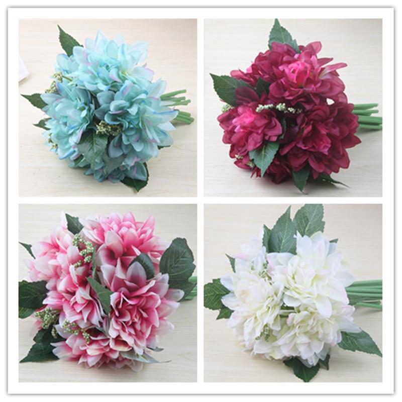 Decorative Artificial Flower teal Silk dahlias Flowers Bouquet ...