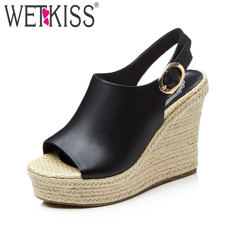 WETKISS 2018 Summer Super High Heels Women Sandals Wedges Peep Toe Straw Weave Platform Footwear Fashion Gladiator Female Shoes lenkisen genuine leather big size wedges summer shoes gladiator super high heels straw platform sweet style women sandals l45
