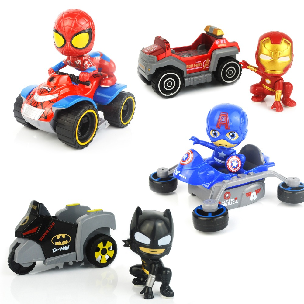 1 set/box Cute toy Car &Figures Spiderman Batman Iron man Captain America Figure Toys Car Pull Back Car Kids Hot Toys 2in1 Gifts