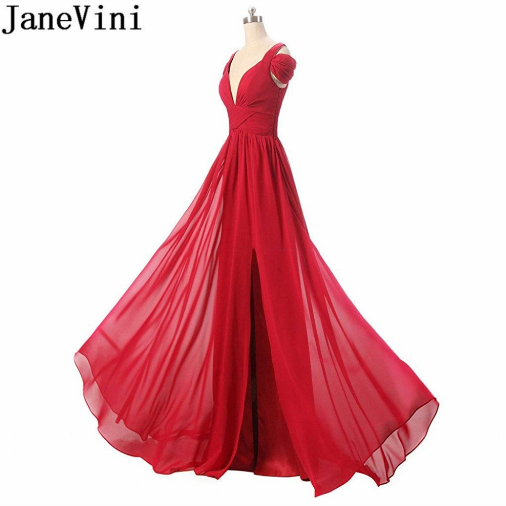 JaneVini élégante robe en mousseline de soie femmes pour la fête de mariage Sexy haute fente rouge robes de demoiselle d'honneur longue col en v longueur de plancher robe 2018