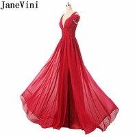 JaneVini элегантное шифоновое платье для женщин для свадебной вечеринки сексуальные красные длинные платья подружек невесты с v образным вырез