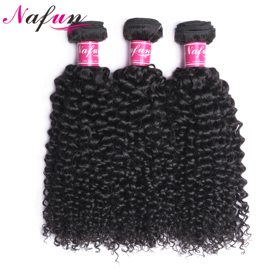 NAFUN Malaysian Kinky Curly Hair Weave Bundles Human Hair Weaving Natural Color Double Weft 3 Bundles
