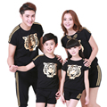 Family Clothing Look Fashion Gold Tiger Head Short-sleeve T-shirts Tees Matching Outfits Clothes Mother Mom Daughter Father Son