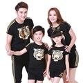 Roupas família moda olhar ouro cabeça do tigre de manga curta t-shirt combinação de roupas roupas mãe mãe filha pai filho