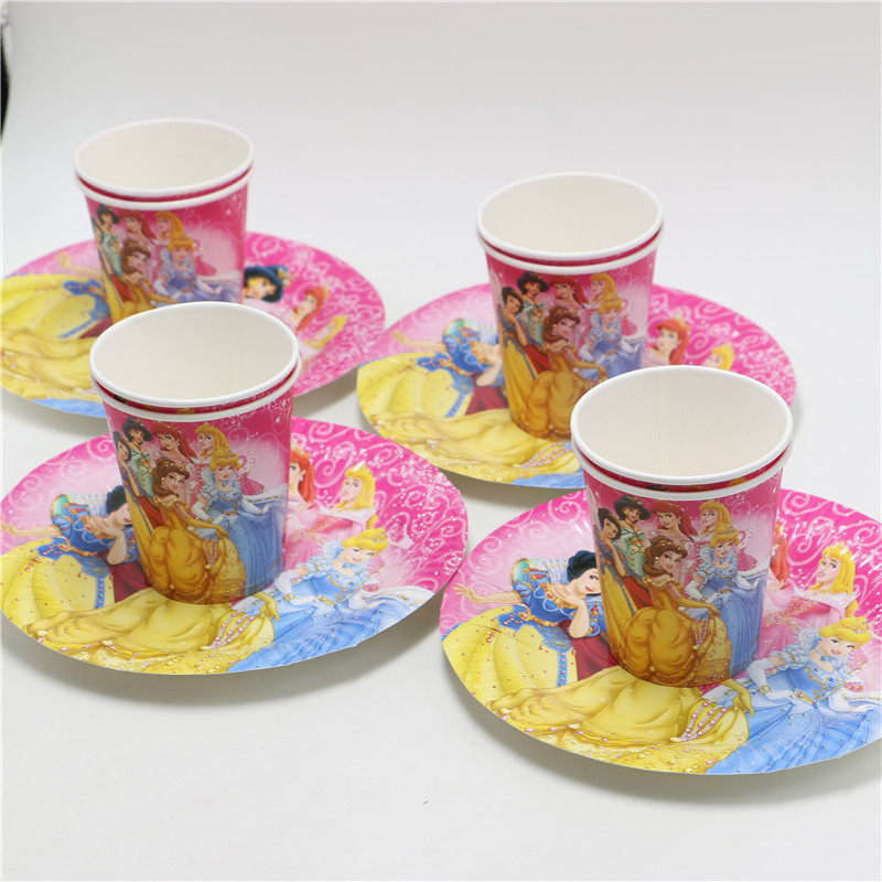 girl kids happy birthday decoration set theme party princess supplies favors disposable paper plates cups glasses  for 12 people