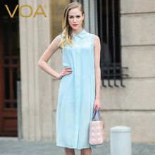 VOA crepy Lapel sleeveless shirt female aqua green fashion loose color buckle silk long simple long coat women B5936