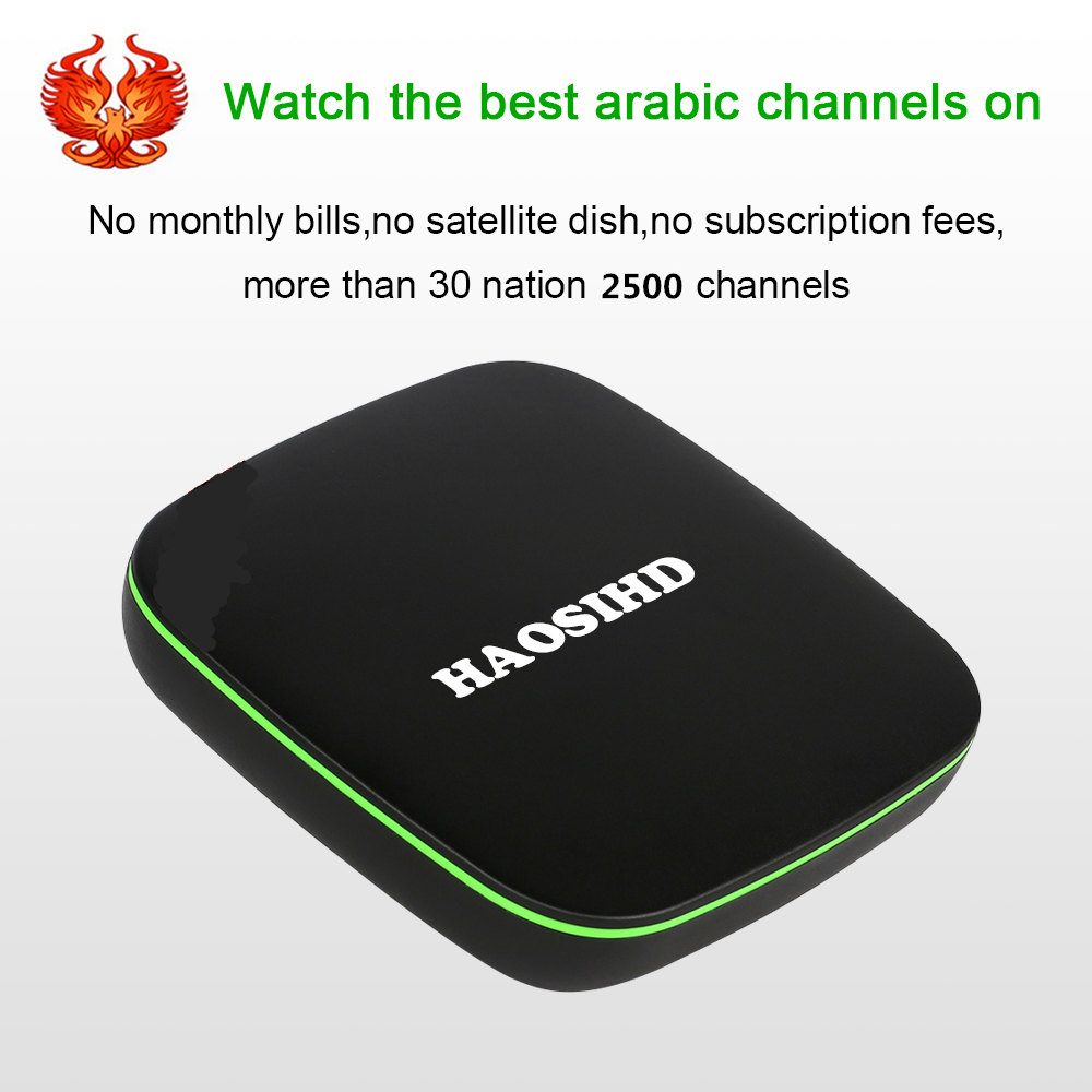 Free forever HAOSIHD A6 Arabic IPTV box free tv no monthly fee free HD 2500 Arabic Europe Africa America live tv