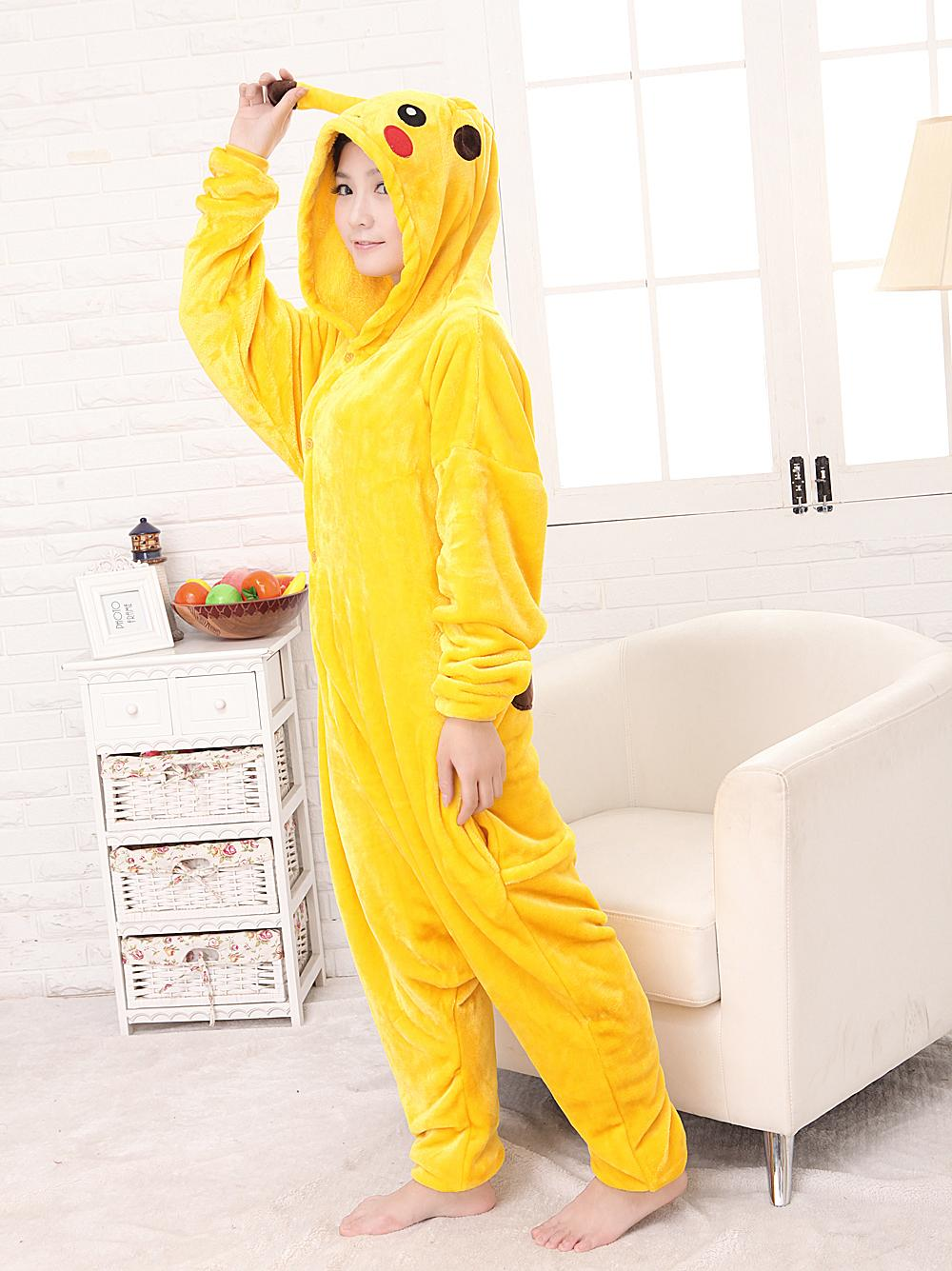 free PP Hot Selling Unisex Flannel Fashion Pajamas Pyjama Adult Cute Anime Cosplay Costume Onesie Sleepwear Stitch Pikachu S-XL