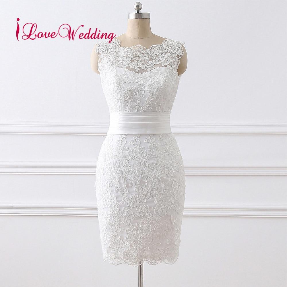 Hot Sale 2019 Short Wedding Dress Vestido de noiva Scoop Collar Lace Applique Knee Length Elegant