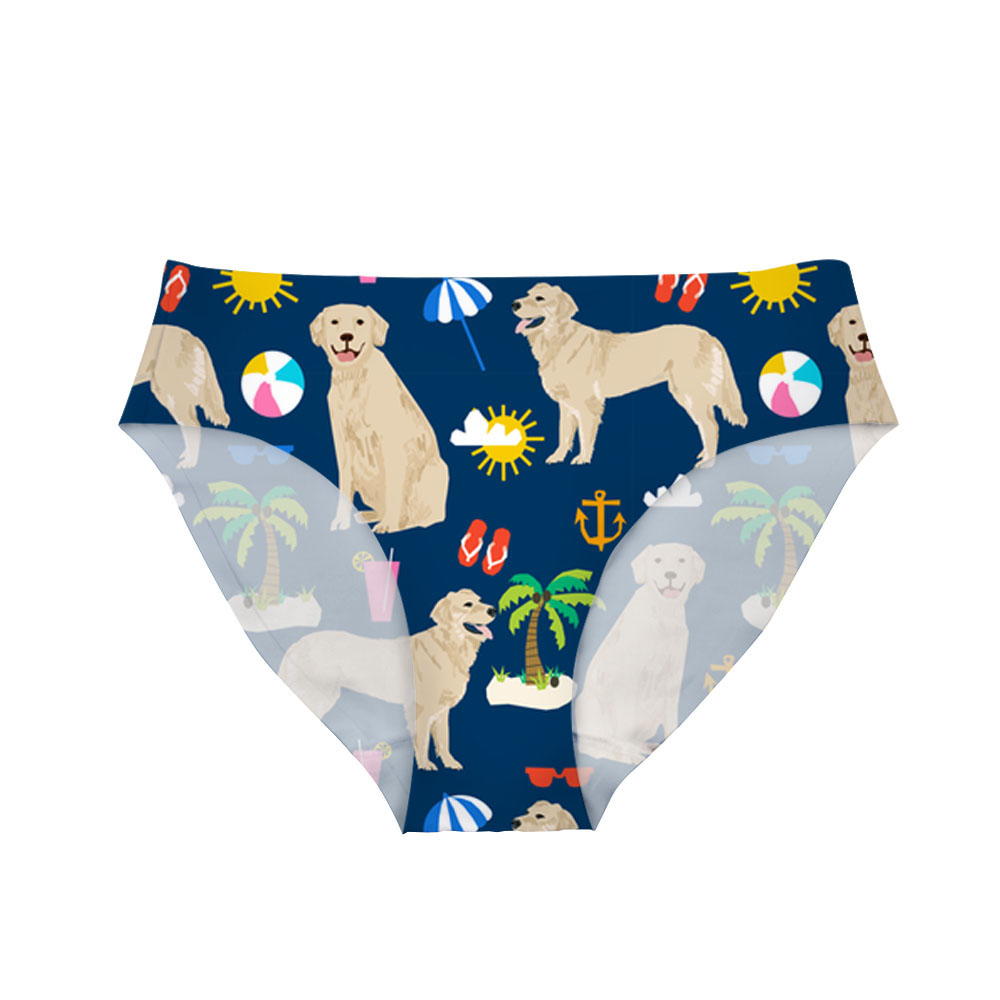 NOISYDESIGNS Cute Golden Retriever Printed Women Sexy Panties Sexy Traceless Underwear Ladies Floral Underpant for Female Briefs