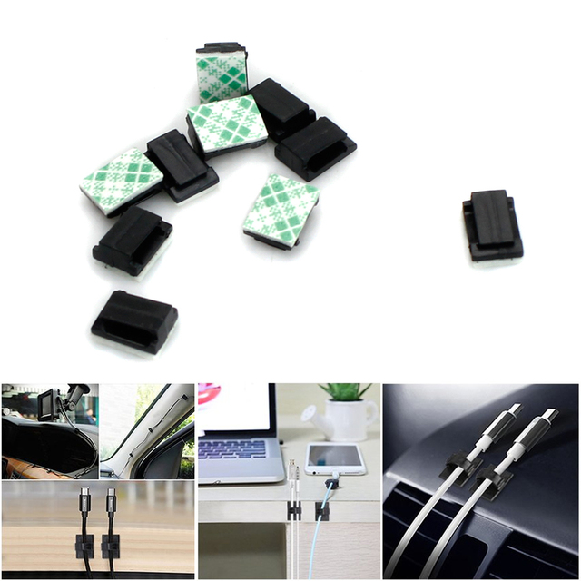 100pcs Adhesive Car Cable Clips Cable Winder Drop Wire Tie Fixer ...