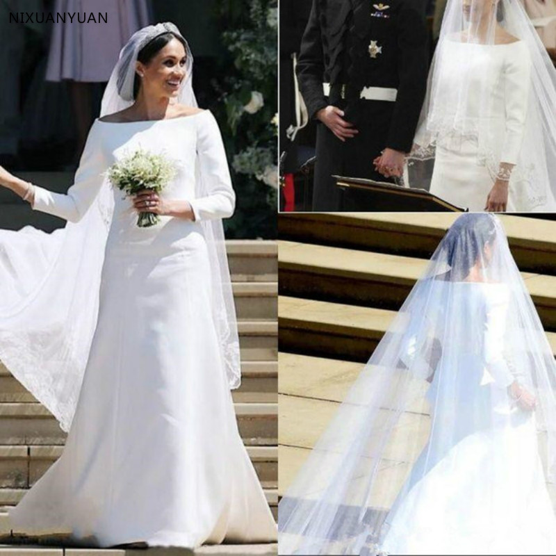 2020 Prince Harry&Meghan Markle Long Sleeves Wedding Dresses Simple Satin Bateau Neck Long Bridal Wedding Gowns Court Train