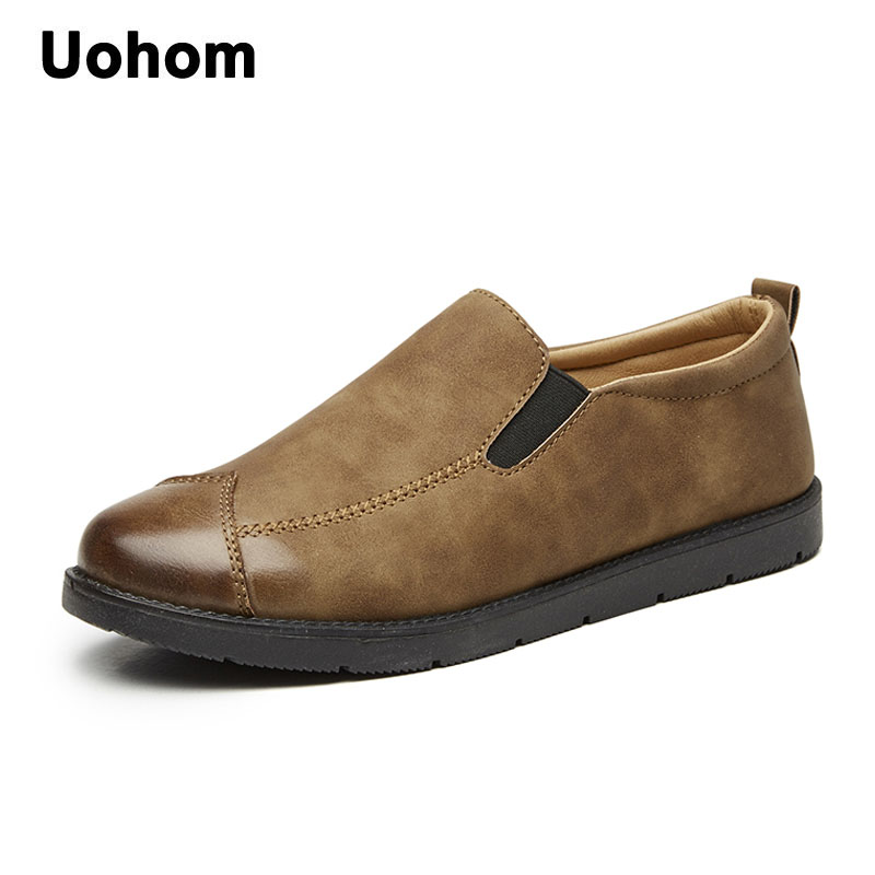Uohom British Men Breathable Causal Shoes High Quality Men Loafers Lace-Up PU Leather Mens Flats Driving shoes mocassin homme