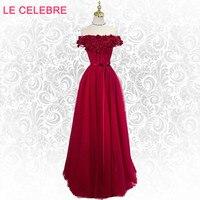 LE CELEBRE spring summer flower evening dress, elegant temperament word shoulder Korean bride red evening dress