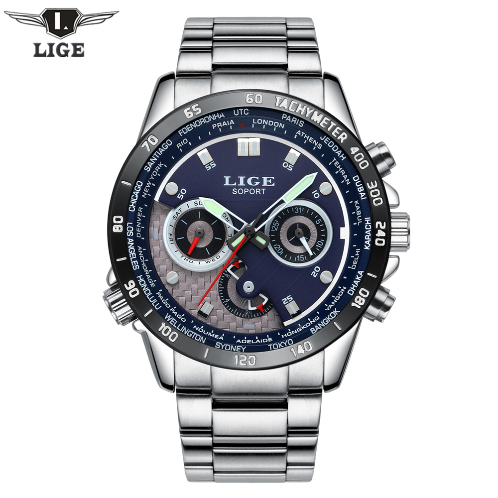 LIGE Quartz Military Sport Watch Men Luxury Brand Casual Watches Men's Wristwatch army Clock full steel relogio masculino 2017