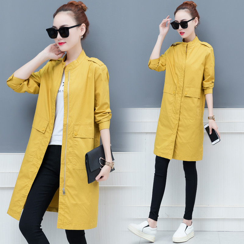 Trench   Coat Women 2019 Spring Autumn Causal Long Sleeve Solid Windbreaker Female Loose Thin Long Coat Outerwear X844