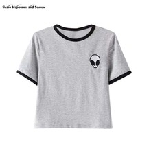 Bavlněné unisex tričko s malou nášivkou mimozemšťana, 9 barev