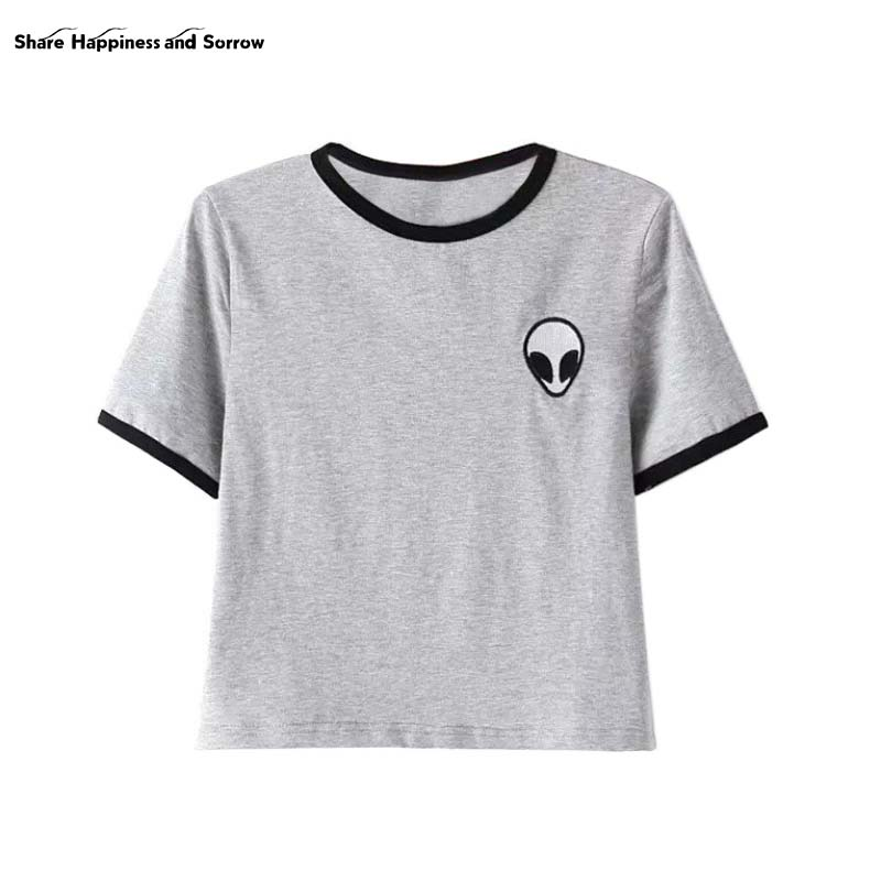 Women Loose Print Short Sleeve Tee Shirt Casual Crop Top Alien Printing T-Shirt  13 Colors