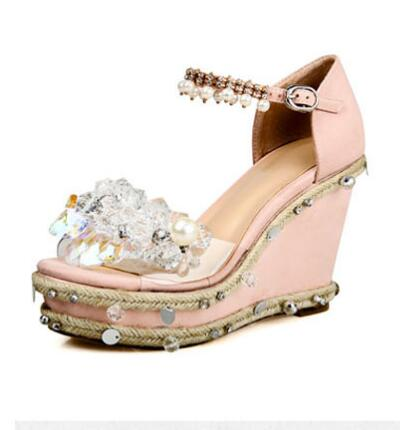 2017 summer fashion crystal embellished high heel sandal luxury string bead platform wedge sandal ankle strap wedding shoes 2017 summer fashion crystal embellished high heel sandal luxury string bead platform wedge sandal ankle strap wedding shoes