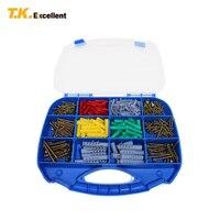 T.K.EXCELLENT Pozidriv Fibreboard Screws And Fish Shape Expansion Kit Plastic CKS Head Pozi Chipboard And Plug Set 385 Pcs
