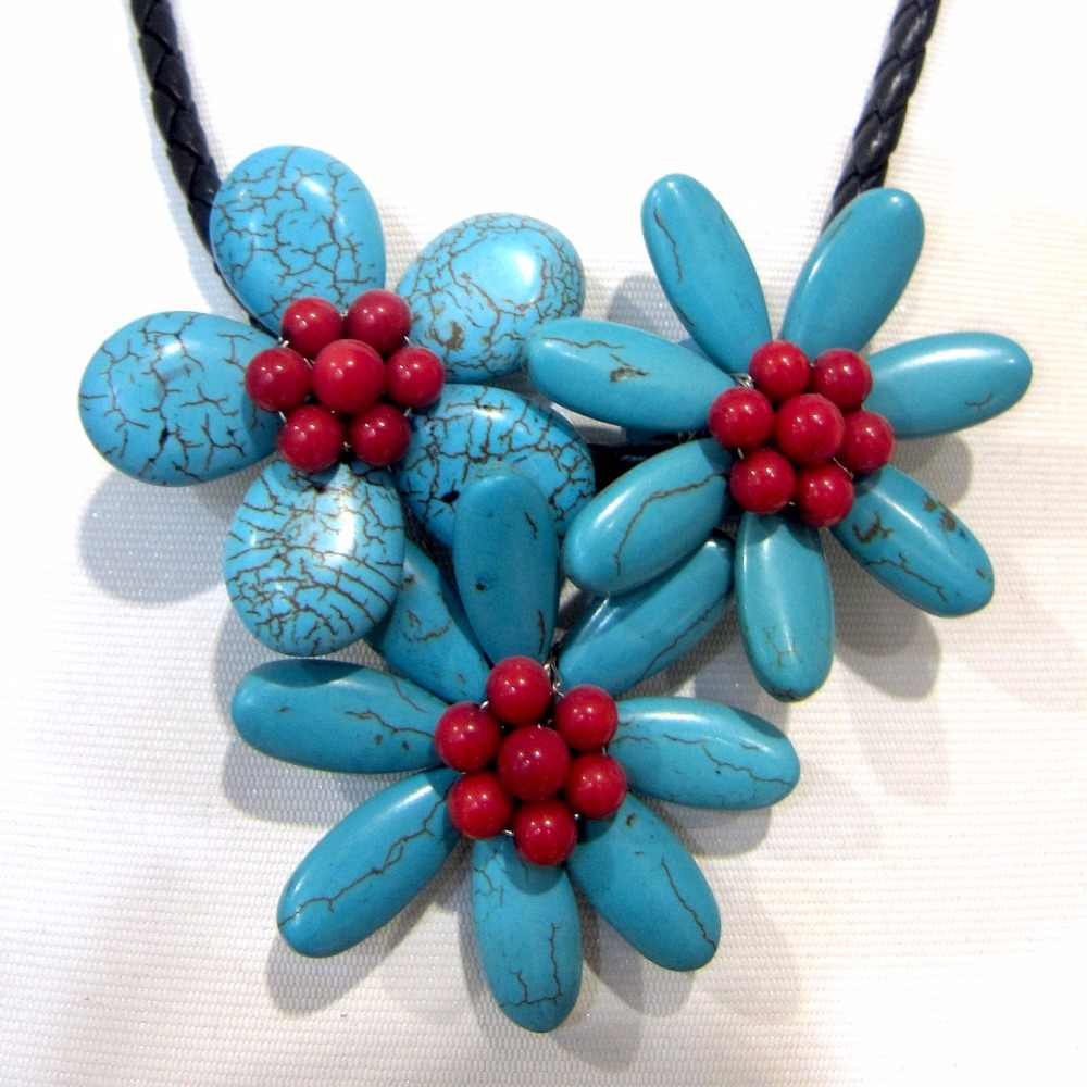 red coral and blue turquoises handmade flower pendant necklace
