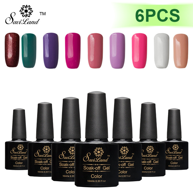 Saviland 6pcs Soak Off UV Gel Nail Polish 10ml Long Lasting Gel Paints Lacquer Semi Permanent Gel Varnish Top Base Coat