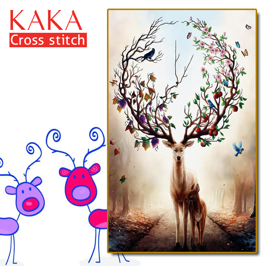 KAKA Cross Stitch Kits Embroidery Needlework Sets With Printed Pattern,11CT Canvas,Home Decor For Garden House,5D Animal Elk