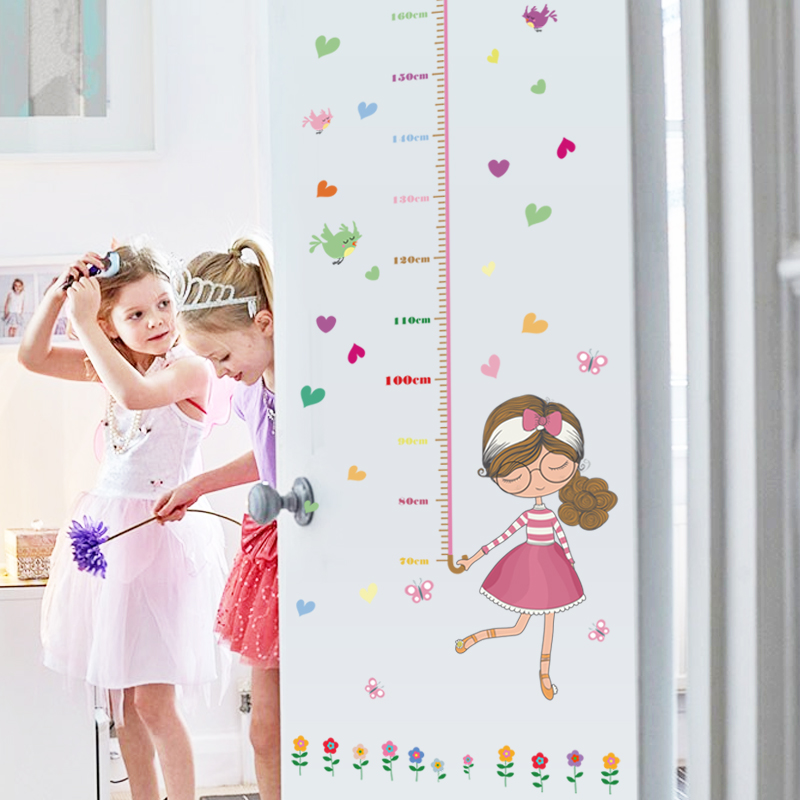 SK7043 Stickers Umbrella Girls Height Chart Measure Wall Stickers Art Vinyl Decal Kids Room Decor Home Wall Decoration in Wall Stickers from Home Garden