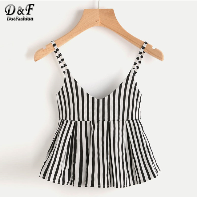 e367c67373b6f Dotfashion V Neckline Vertical Striped Babydoll Cami Top 2019 Ruffle Hem  Striped Vest Women Casual Slim Fit Peplum Camisole