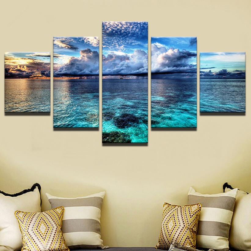 >Modern Canvas Painting <font><b>Printed</b></font> Framework Living Room Decor 5 Pieces <font><b>Blue</b></font> Sky <font><b>White</b></font> Clouds Seascape Pictures Wall Art Poster