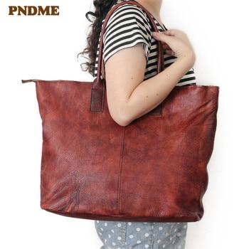 PNDME handmade vintage genuine leather women shoulder bag handbags soft cowhide large capacity handle bags shopping tote bag