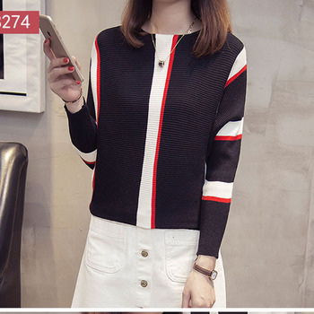 Women Striped Sweaters and Pullovers 2019 Fall Fashion Female New Arrival Knitted Pullover Tops Loose Elegant Cotton Pull Jumper 2