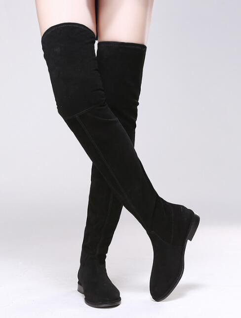 New 2017 black Stretch Fabric over knee high boots women point toe thigh high booties flats party women dress shoes tall bota