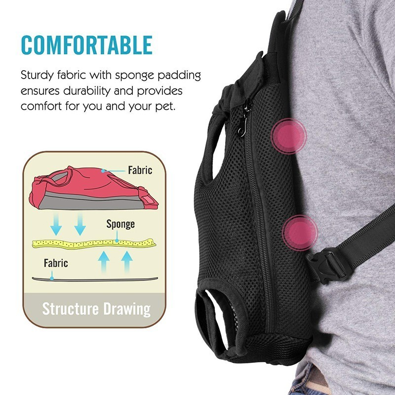 Petshy Adjustable Dog Backpack Kangaroo Breathable Front Puppy Dog Carrier Bag Pet Carrying Travel Legs Out, Easy-Fit 10 Colors