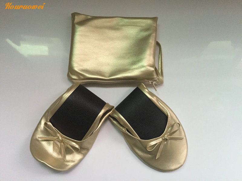 Indispensable Women Flats Shoes Gold Foldable Ballet Flat In Bag Roll Up With Logo Ballerina S From On Aliexpress