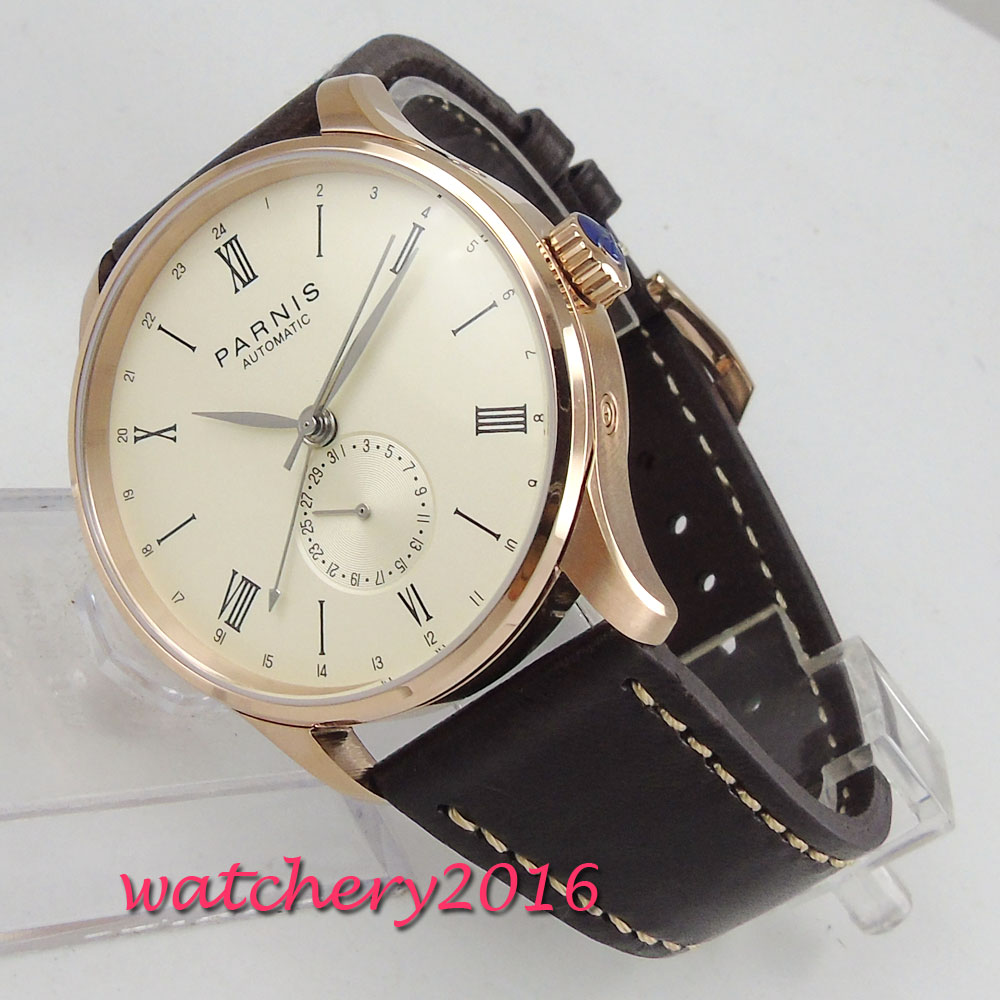 2018 New arrival Parnis 42mm Seagull Automatic Diver Watch Calendar Metal Mechanical Watches Rose Golden Dial Best Cheap Sale