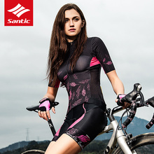 Santic Women Cycling Jersey Short Sleeve Pro Fit Ladies Road MTB Bike Bicycle Print Reflective Breathable Mujer
