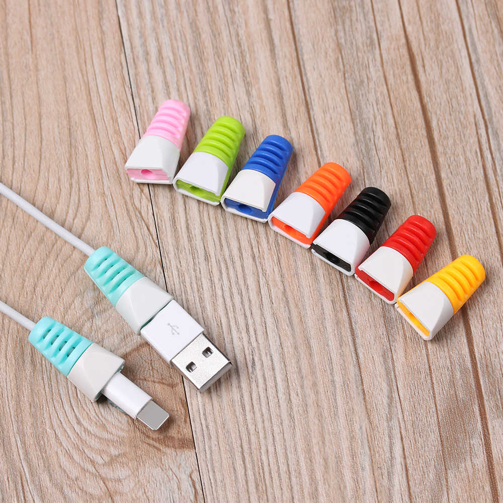 2 個カラフルなケーブルプロテクターワインダーデータラインケースロープ保護春ひも Iphone Android 用 USB 充電イヤホンケーブル