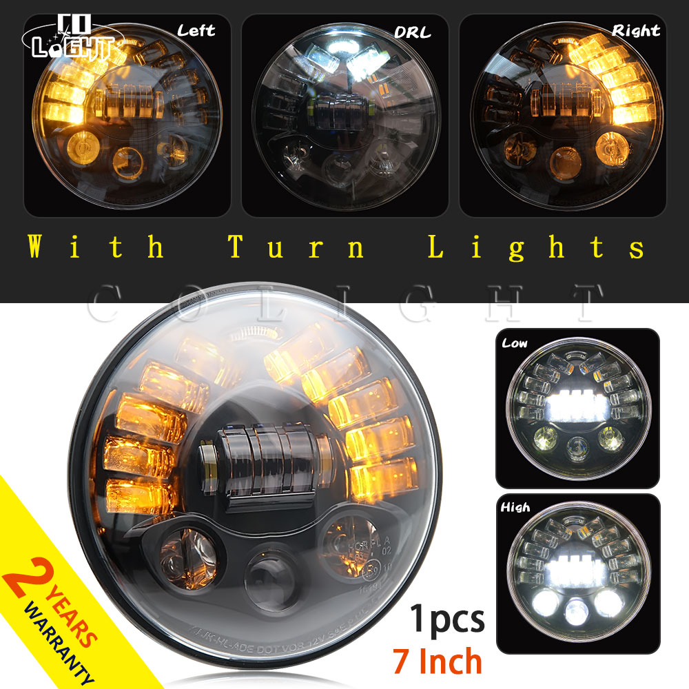 CO LIGHT 7inch Motorcycle Headlight 40W 70W Hi-Lo Beam H4 Round 7 Inch Car Headlights for Off Road Jeep Wrangler Lada Bike Motor h4 7 led headlights with led car canbus led chip 80w 8000lm 6000k hi lo led driving light for off road uaz lada