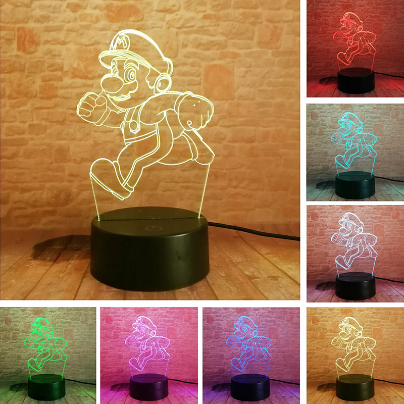 Super Mario Model 3D Illusion LED NightLight Colourful Flashing Light Glow In The Dark Super Mario Bross Figure Toys For Kids