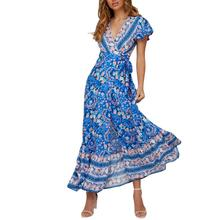 2019 New Yfashion Women Bohemia Printed Casual Fashion V-neck Split Long Dress