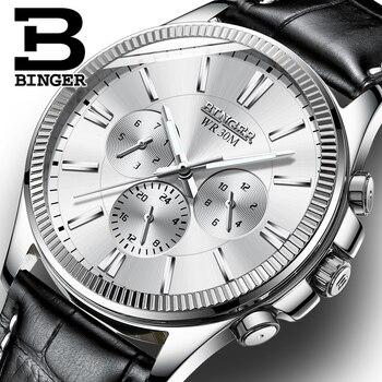 Montre BINGER hommes marque de luxe automatique montre mécanique saphir montres Phase de lune relogio masculino hommes montres B1180-13
