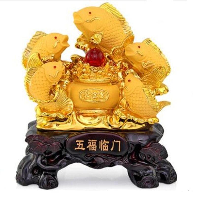 Cinq carpes partent pour attirer le feng shui poisson résine or cornucopia artisanat portes ouvertes pour donner des cadeaux